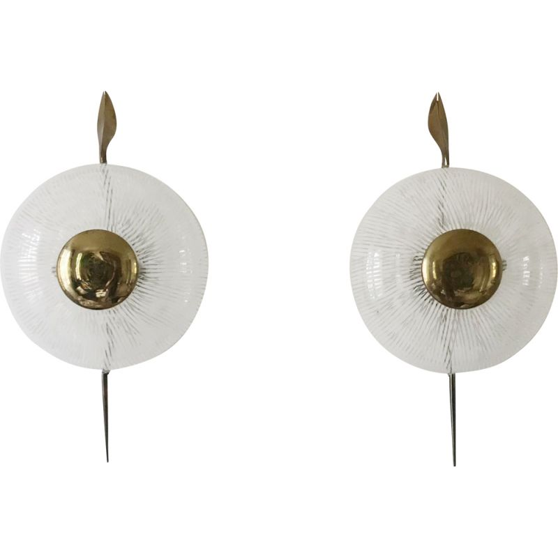 Pair of vintage wall lamp from Maison Lunel 1950