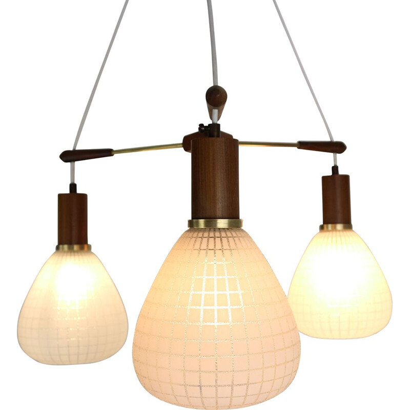 Vintage Scandinavian teak and brass chandelier