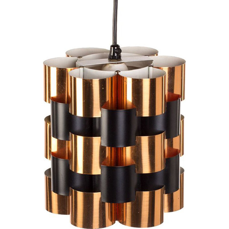 Vintage copper and black pendant lamp by Werner Schou