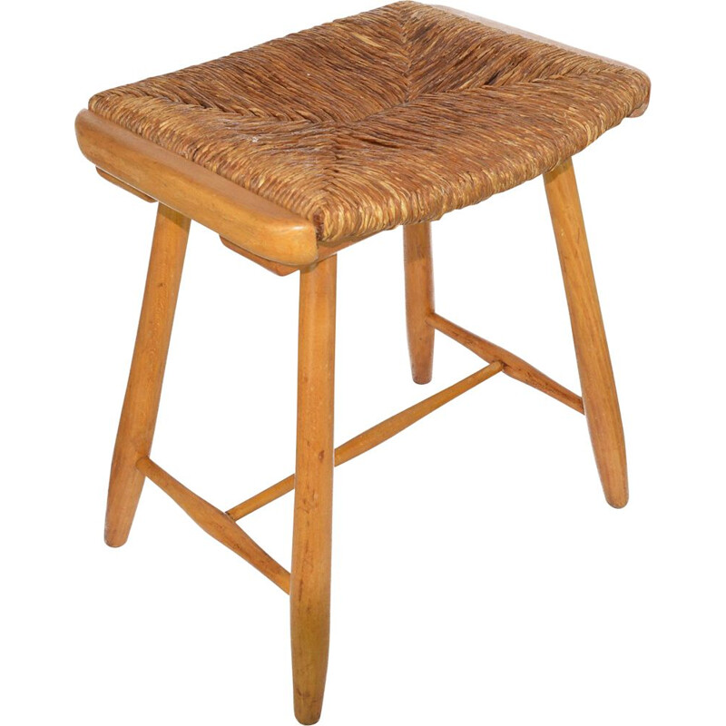 Vintage rustic stool with seagrass seat