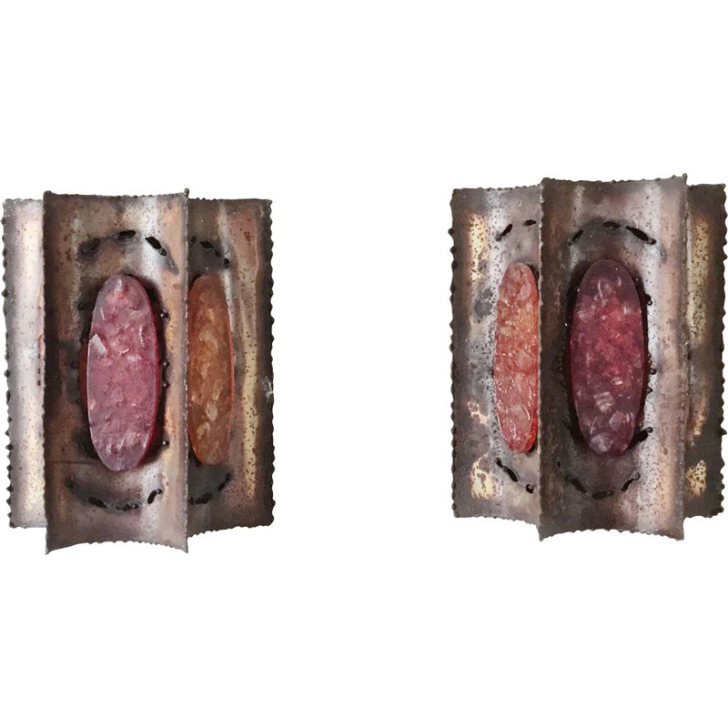 Pair of vintage brutalist wall lamp from Accolay