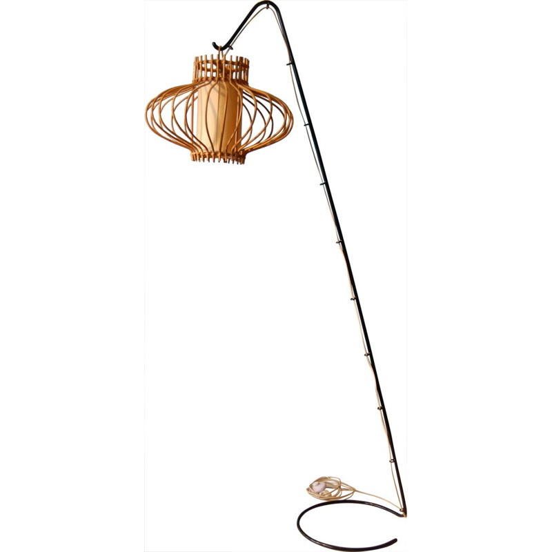 Vintage steel, rattan and rice paper floor lamp - 1950s