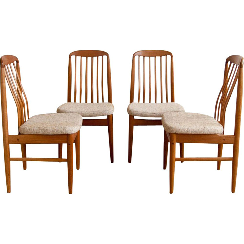 Set of 4 vintage scandinavian chairs by Linden in teak and beige fabric 1960