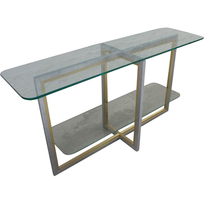 Italian vintage console table in brass and brushed steel 1970