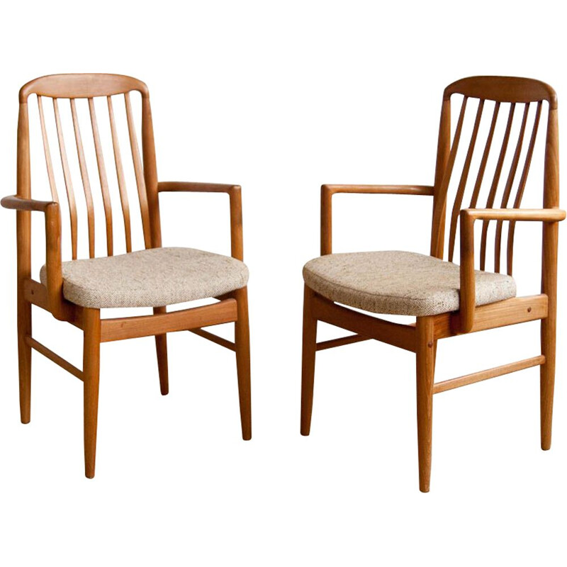 Pair of vintage armchairs by Linden in beige fabric and teak 1960