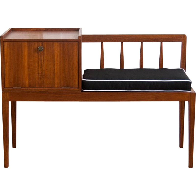 Scandinavian vintage telephone bench in teak and black fabric 1960