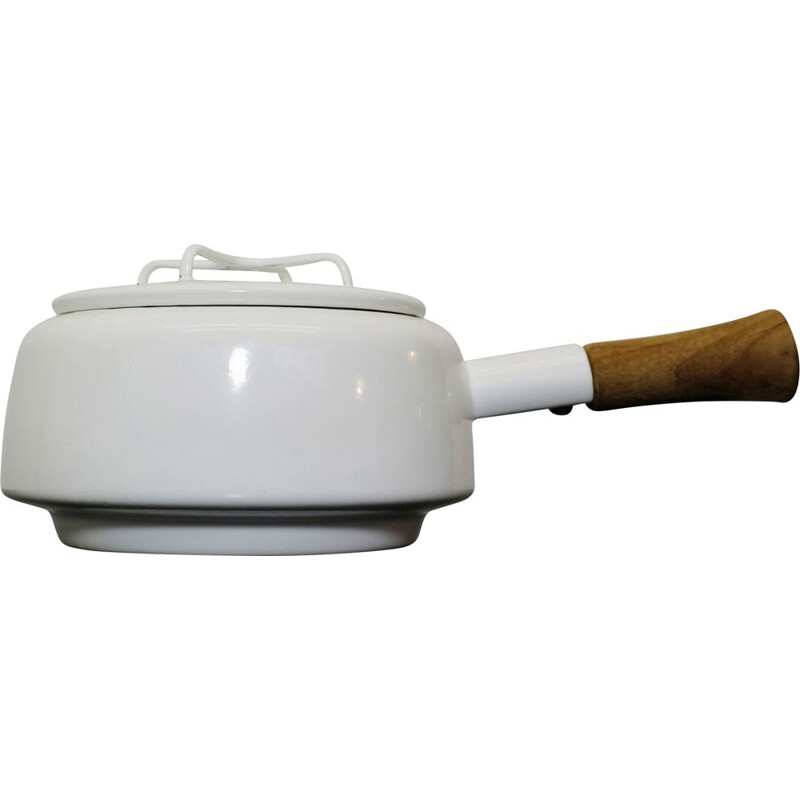 Small vintage frying pan for Dansk in teak and enamelled white 1950
