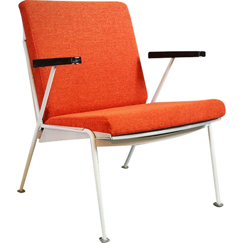 Vintage armchair for Ahrend De Cirkel in orange fabric and metal 1950