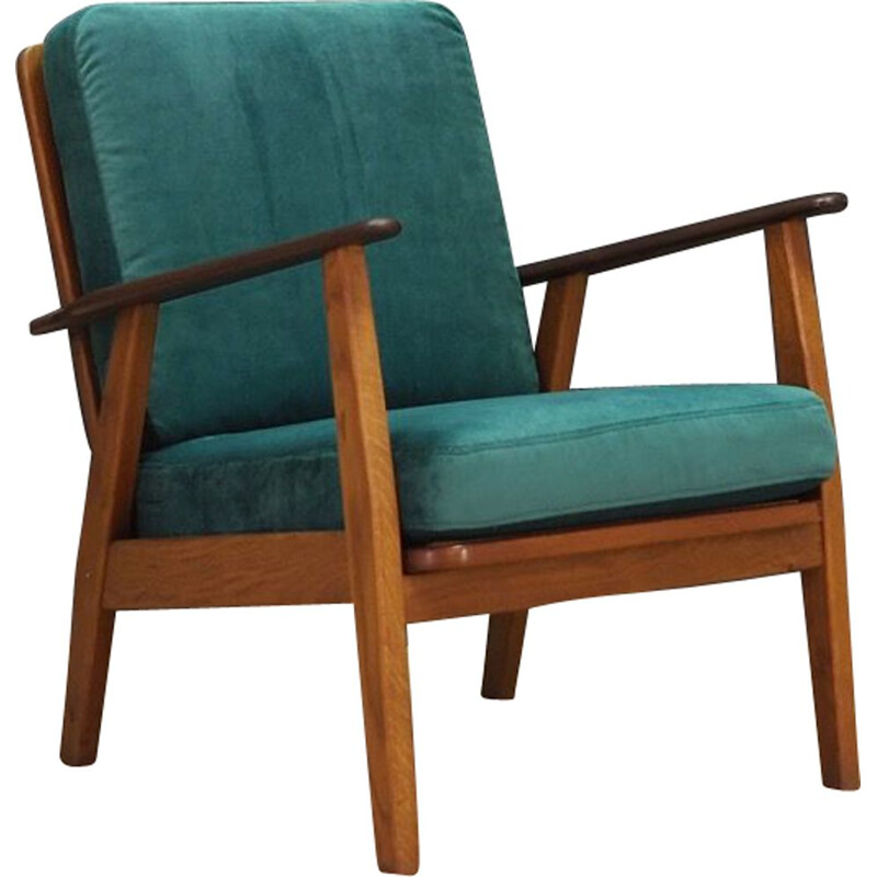 Vintage scandinavian armchair in green fabric and wood 1960