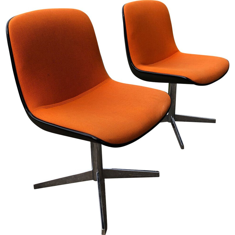 Pair of vintage Pollock design chairs for Comforto