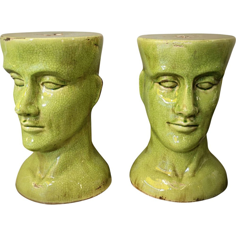 Pair of vintage stools in green ceramic 1980