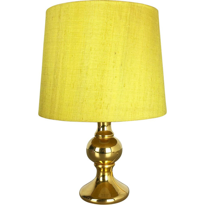 Vintage yellow lamp for Luxus Vittsjö in silk and glass 1970