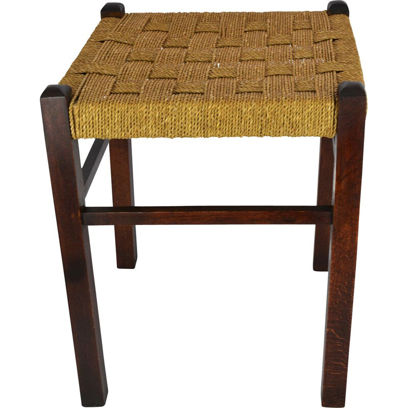 Vintage stool beech with string seat, Germany 1960s