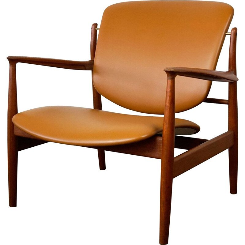 Vintage teak and Leather FD 136 armchair by Finn Juhl 1960