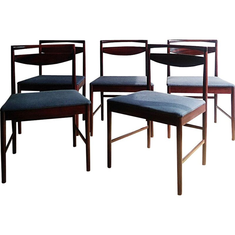 Set of 5 blue vintage chairs in exotic wood 1960