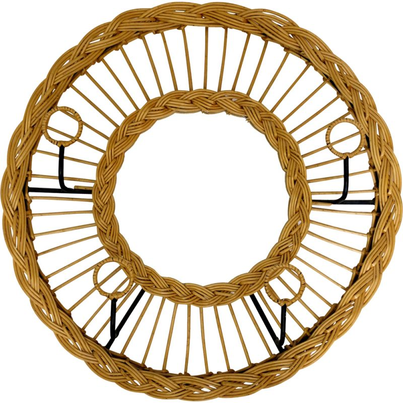 Vintage coat rack and mirror in metal and rattan,1970