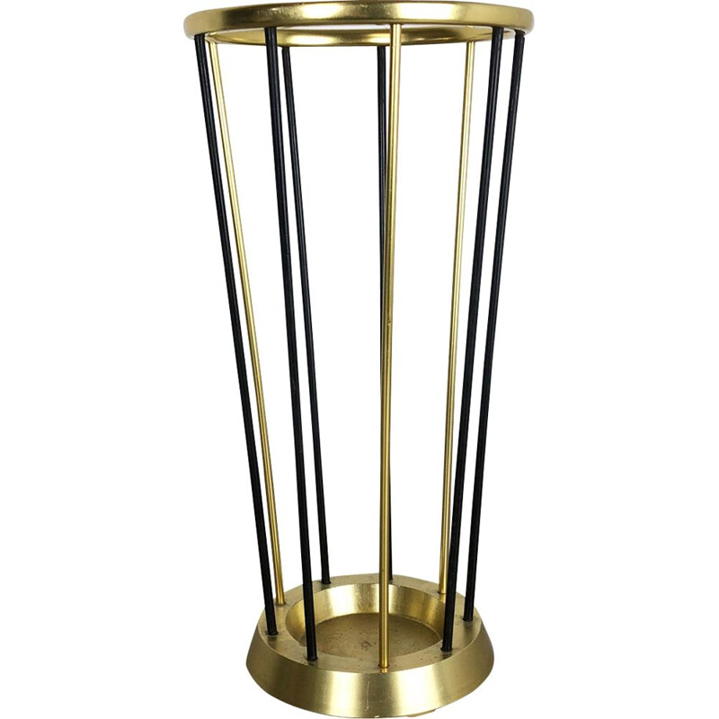 Vintage metal and brass umbrella stand, Germany, 1950