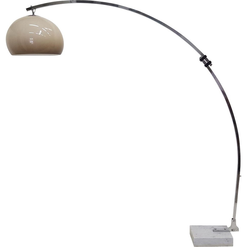 Vintage Reggiani arc floor lamp with marble base 1970
