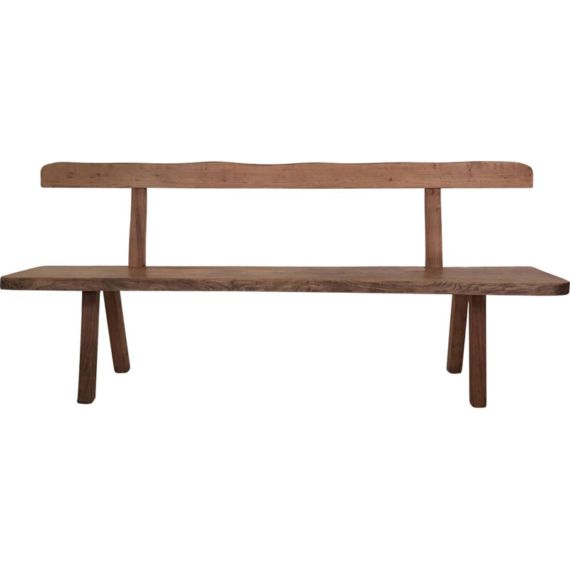 Vintage bench brutalist in solid elm 1960s