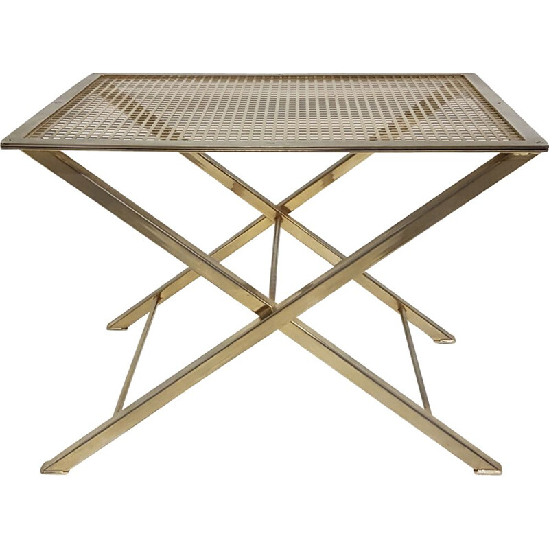 Vintage stool or sofa end table in brass and perforated metal 1970s