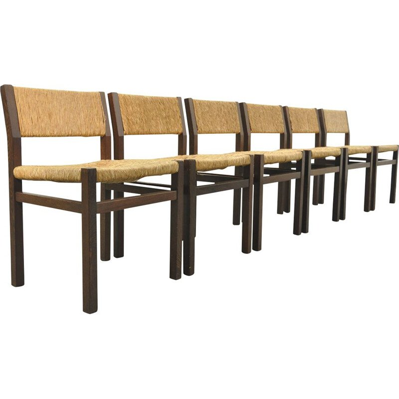 Set of 6 vintage Wengé and Wicker dining chairs by Martin Visser, Walter Antonis for t Spectrum