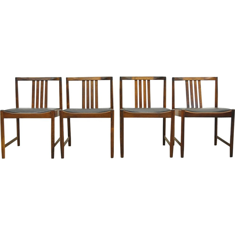 Set of 4 vintage Scandinavian rosewood dining chairs from Iilum Wikkelso
