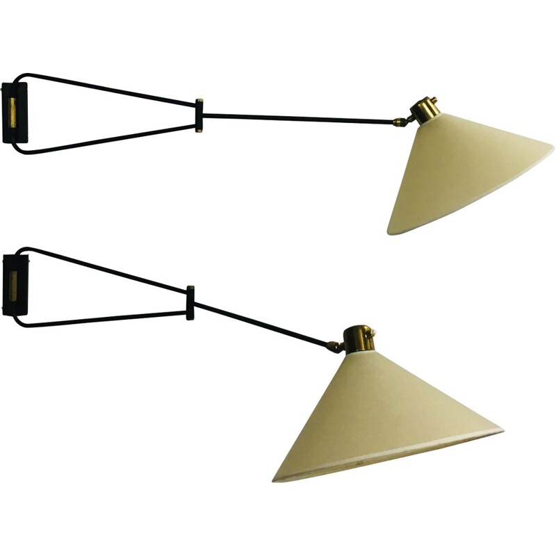 Pair of vintage double-arm wall lamp by René Mathieu for Lunel