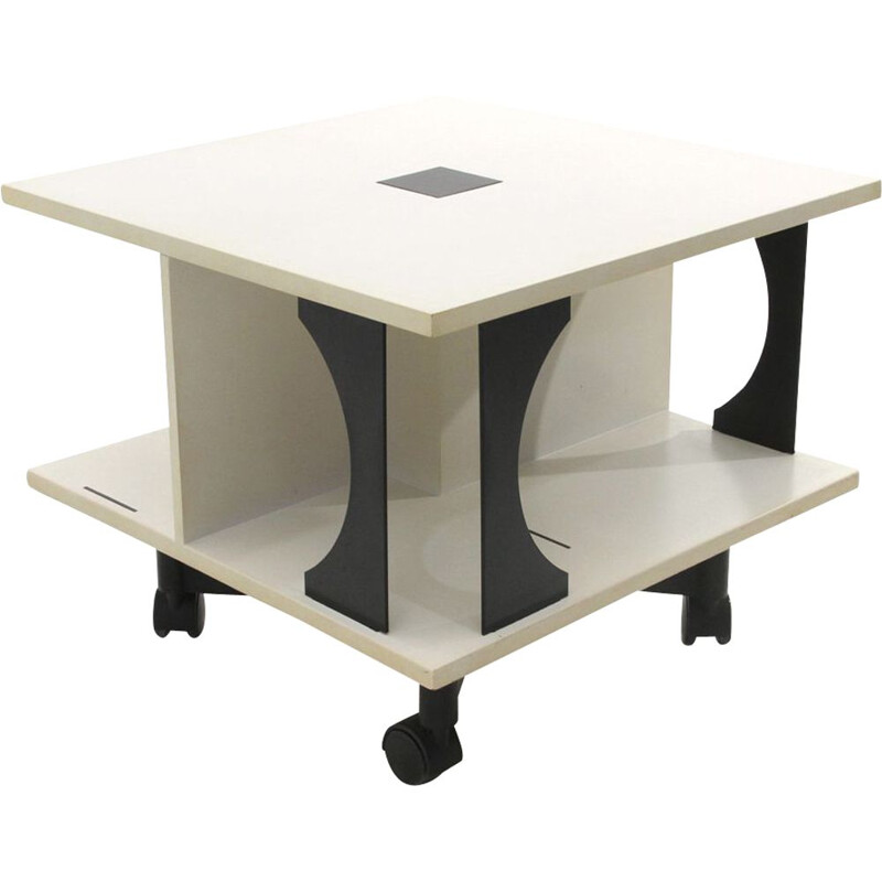 Vintage italian black and white coffee table by Anna Castelli Ferrieri for Kartell