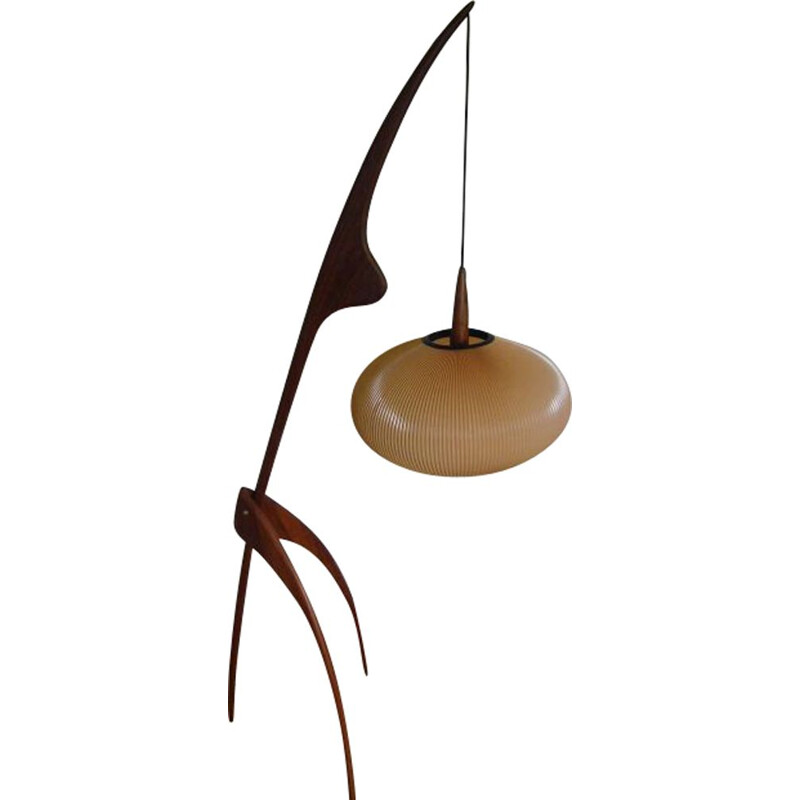 Vintage floor lamp Praying Mantis from Maison Rispal in Paris 1950s