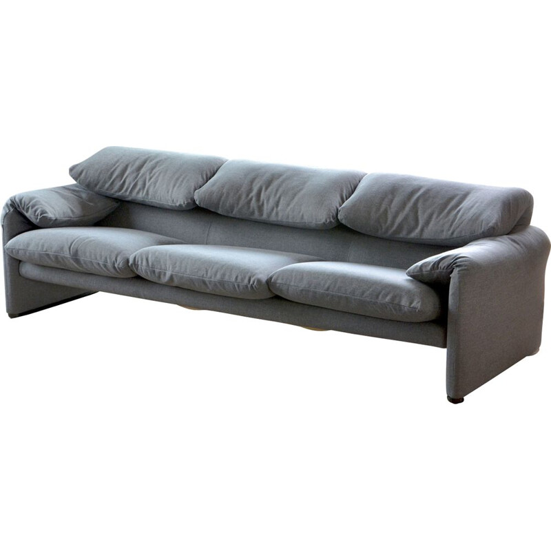 3-seater sofa vintage grey Maralunga 675 by Vico Magistretti for Cassina