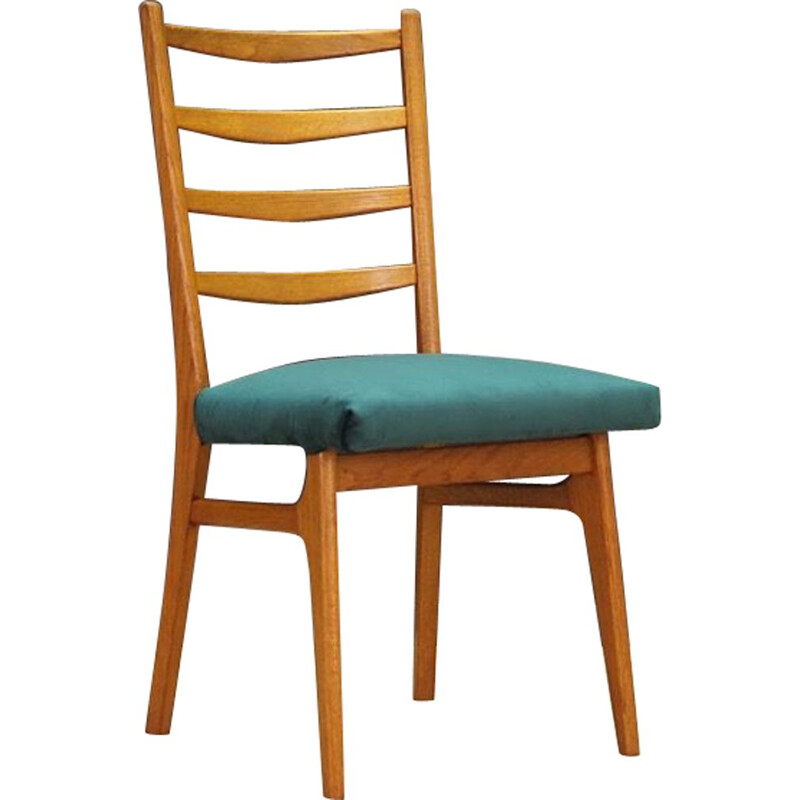 Set of 4 vintage chairs in teak and green velvet Denmark 1960-70s
