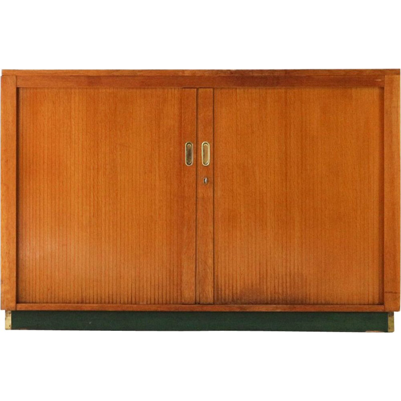 Vintage office cabinet in oak and linoleum with roller shutters 1960s