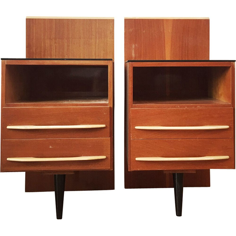 Vintage pair of night stand by Mojmir Pozar for UP Zavody,1960