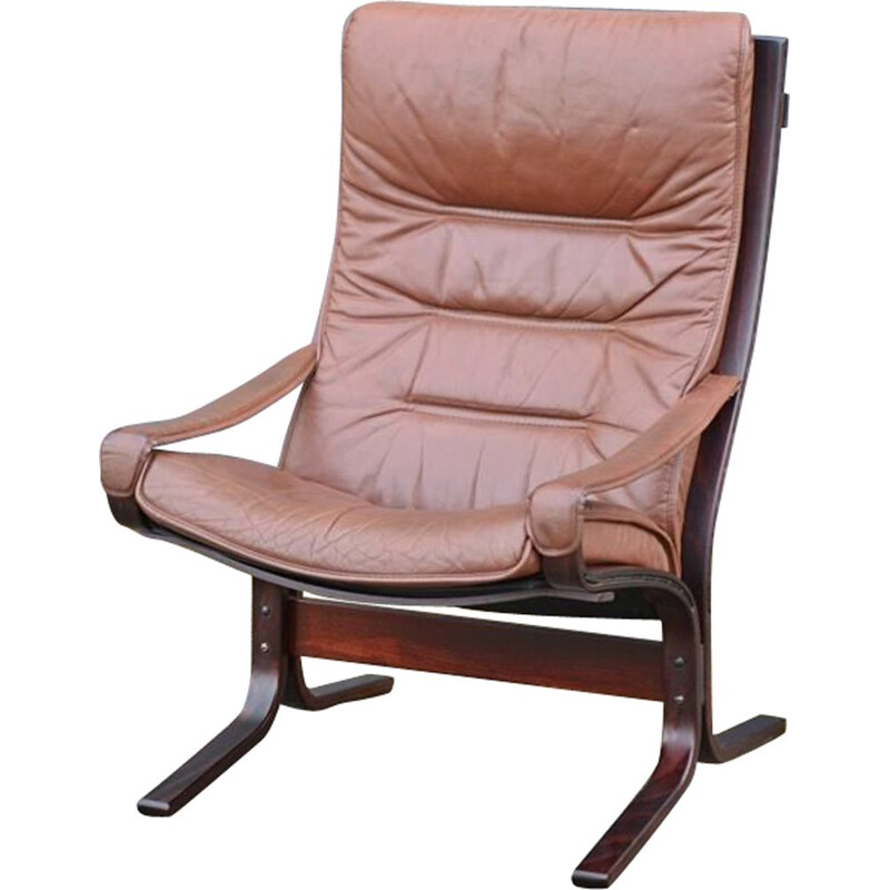 "Vintage ""Siesta"" leather armchair by Ingmar Relling for Westnofa, 1960"