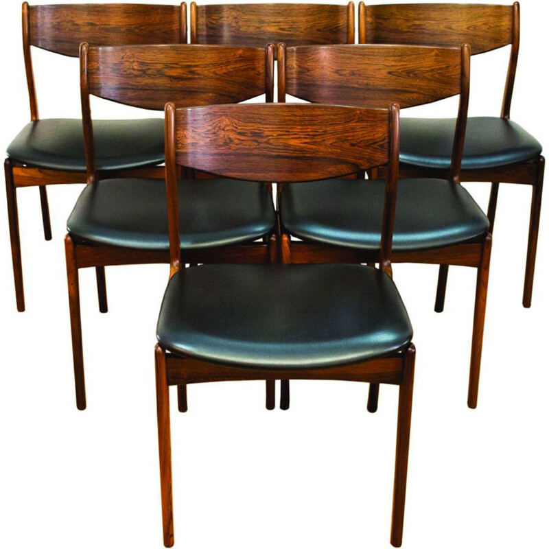 6 Danish vintage dining chairs in rosewood by P.E Jorgensen for Farso Stolefabrik,1960