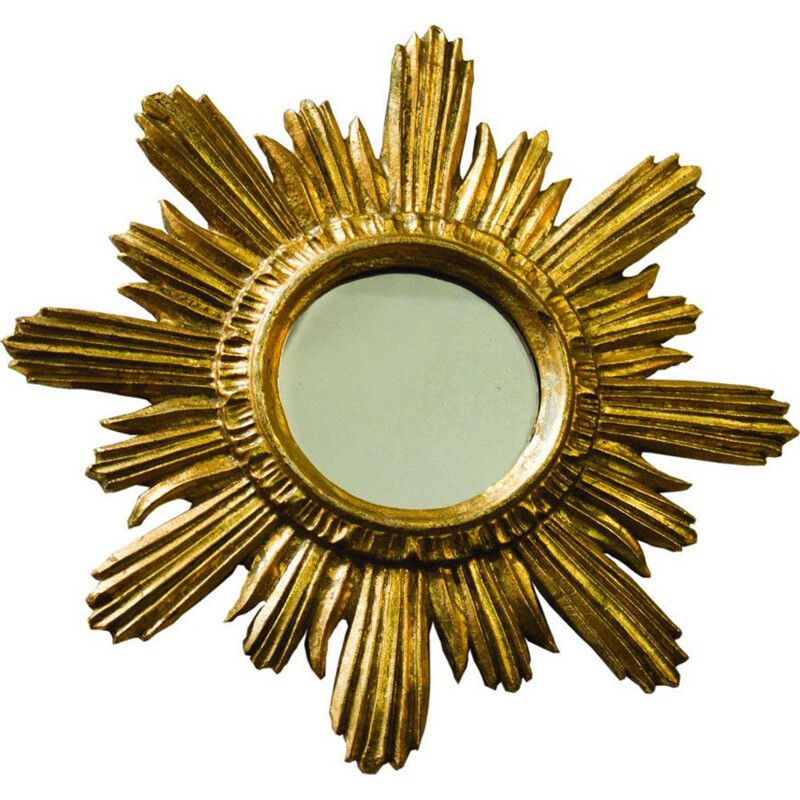 Vintage Golden Sunburst Mirror in gilded wood 1960s