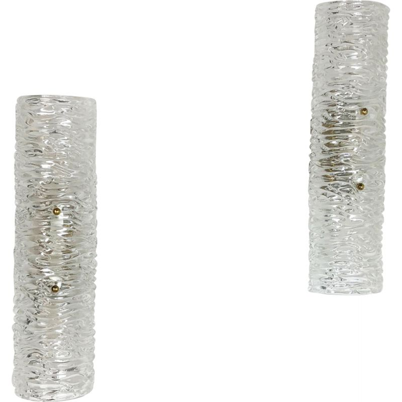 Set of 2 vintage Huge Ice Glass Wall lamp 1960s