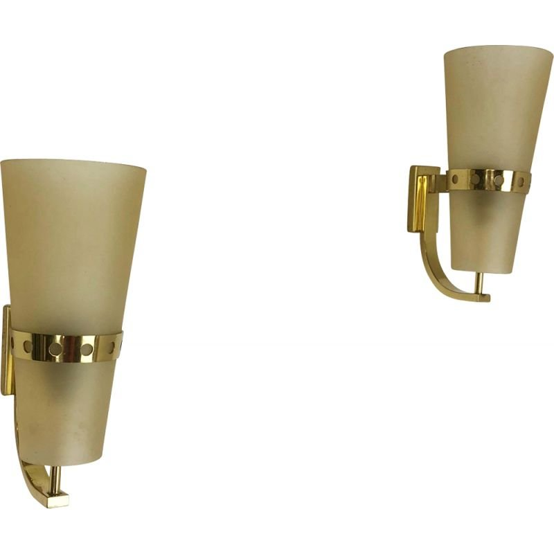 Set of 2 Brass Wall lamps 1950s