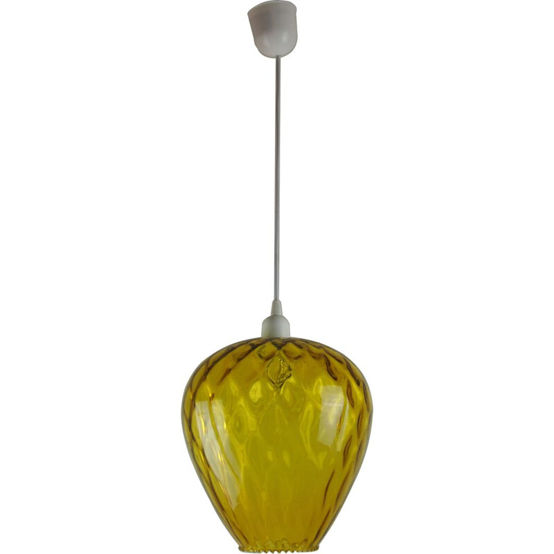 Vintage pendant lamp VENINI amber glass space age
