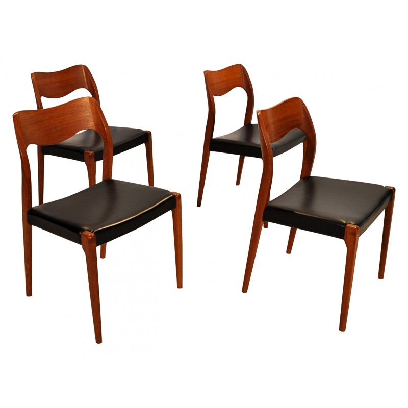 4 chairs model 71 niels o moller 1960s design market