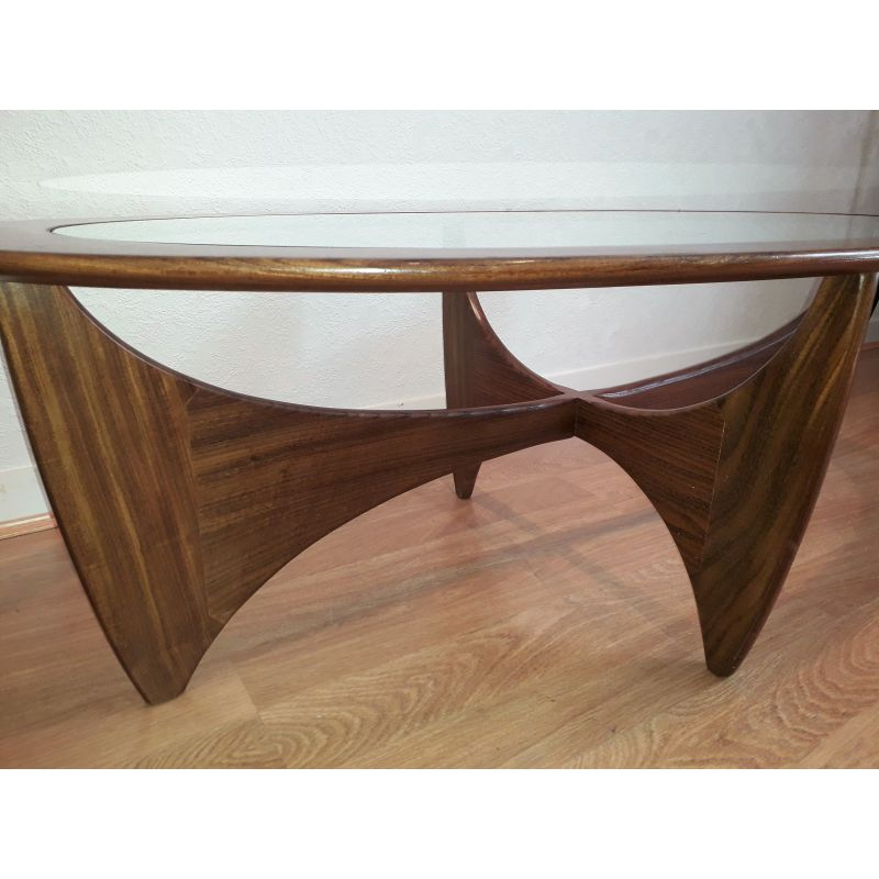 Teak Oval Coffee Table: Vintage Coffee Table Astro Oval Teak And Glass By V