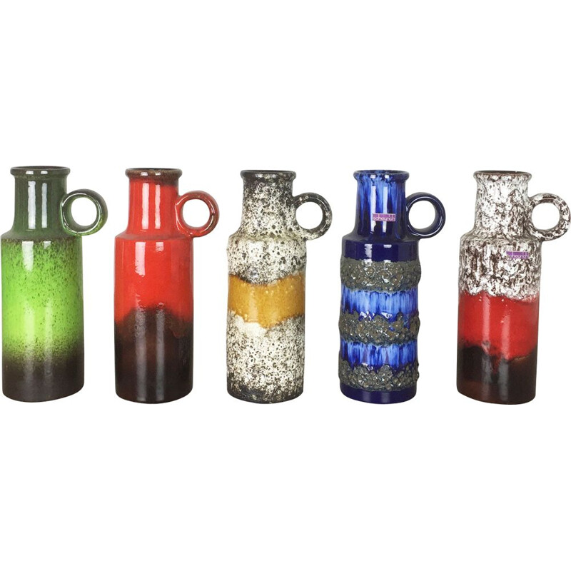 Set of 5 Vintage Pottery Fat Lava Vases by Scheurich 1970s