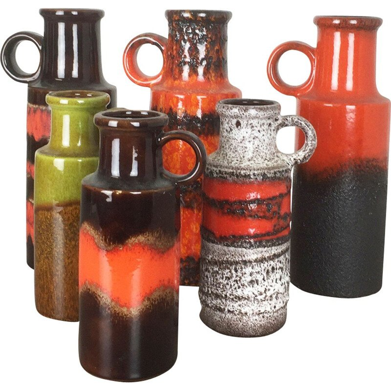 Set of 6 vintage pottery Fat Lava vases by Scheurich