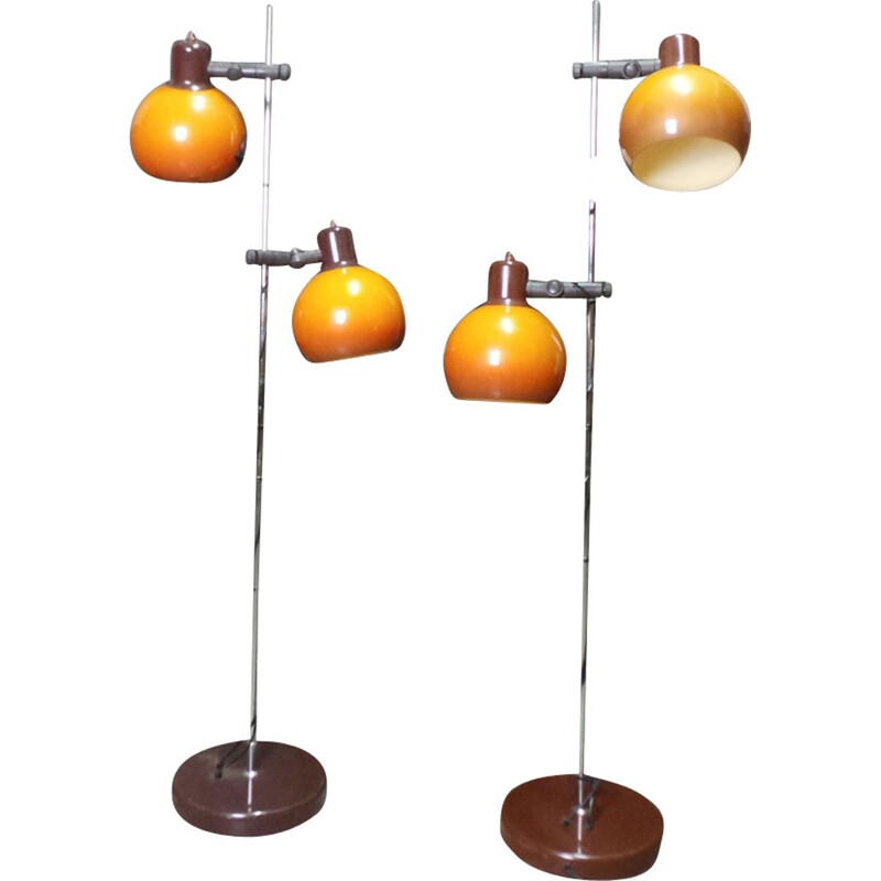 Pair of vintage floor lamps in metal by Szarvasi