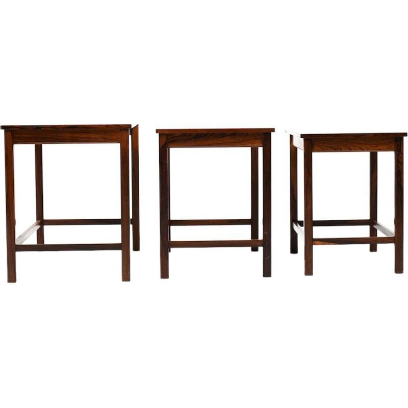 Set of Danish nesting tables in rosewood