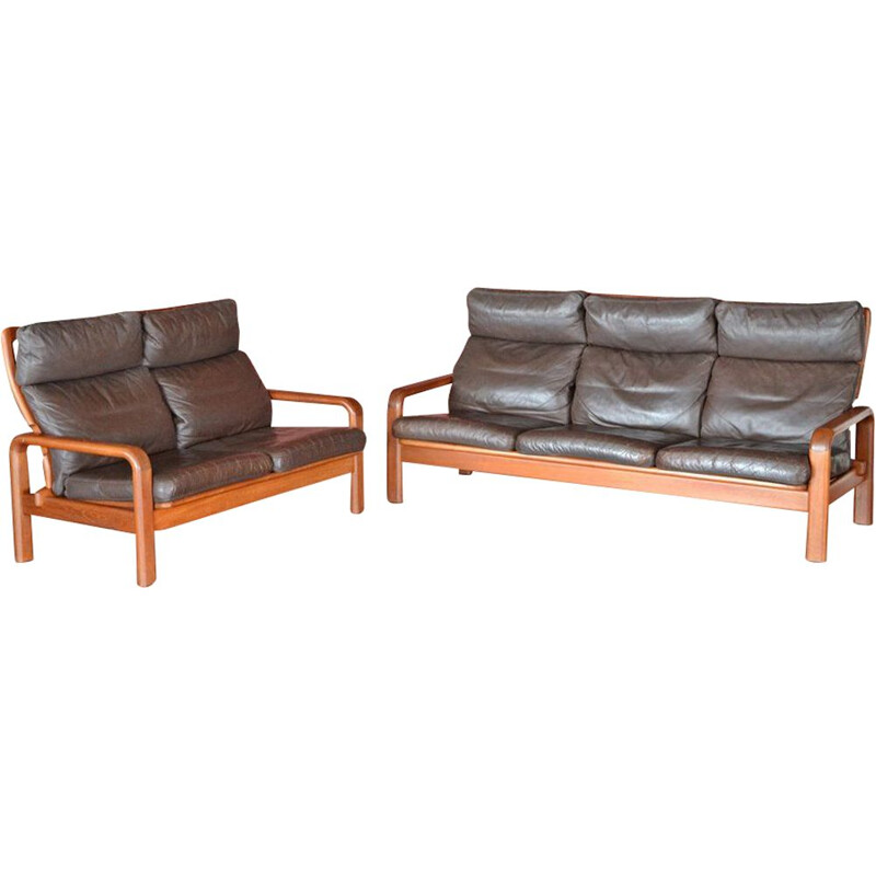 Danish teak and leather lounge set by L. Olsen & Son