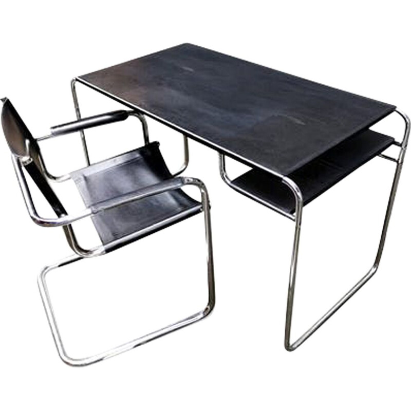 Armchair and desk in black metal bauhaus style