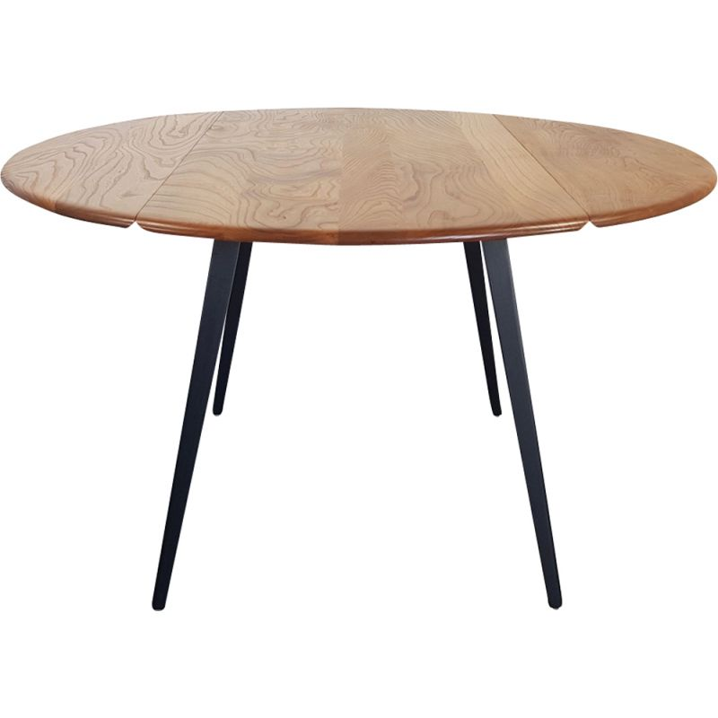 Vintage round drop leaf dining table by Lucian Ercolani for Ercol