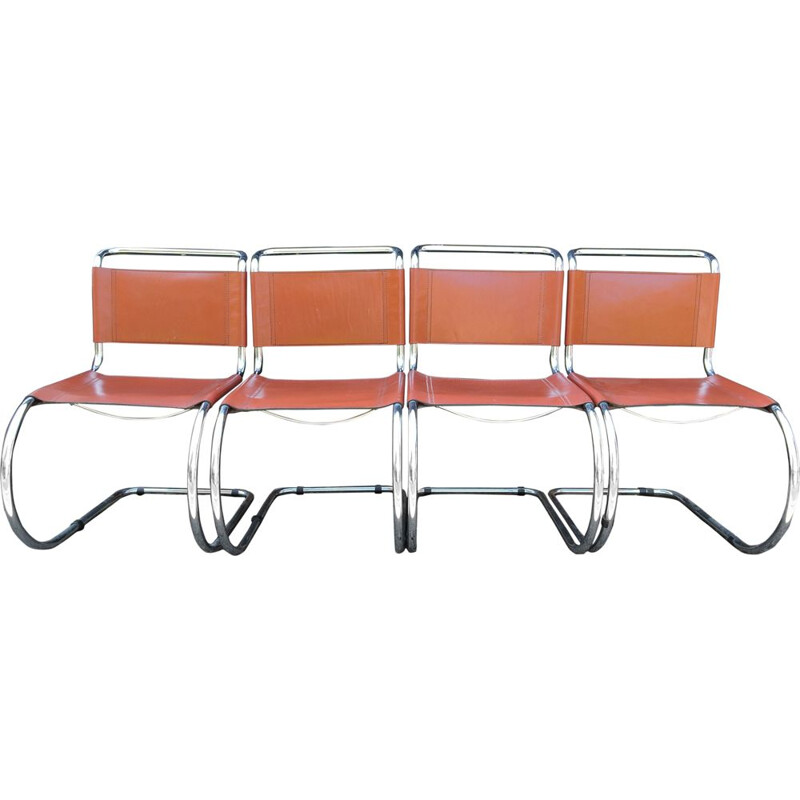 Set of 4 vintage orange Tan MR Cantilever chairs by Ludwig Mies van der Rohe