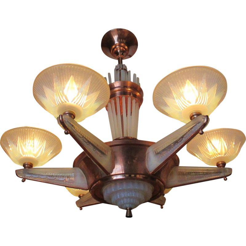 French vintage chandelier in bronze and glass 1930